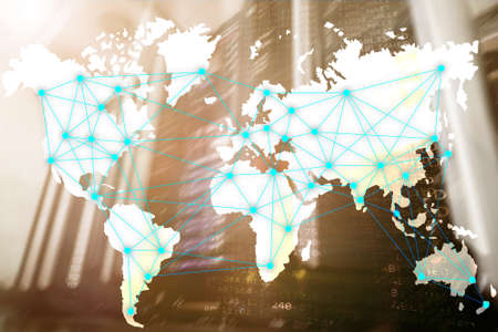 Internet and telecommunication concept with world map on server room background