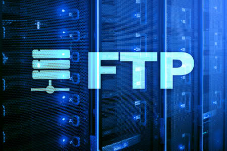 FTP - File transfer protocol. Internet and communication technology concept. 写真素材
