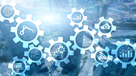 Automatisierungstechnik und intelligentes Industriekonzept auf unscharfem abstraktem Hintergrund. Zahnräder und Symbole.
