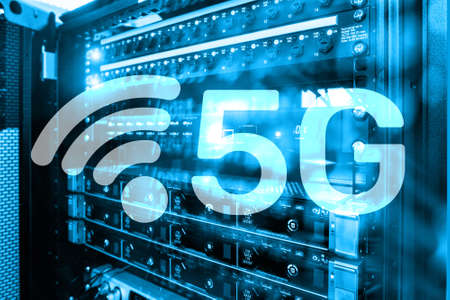5G Fast Wireless internet connection Communication Mobile Technology concept. Future Communications Technology