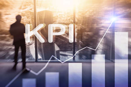 KPI - Key Performance Indicator. Business and technology concept. Multiple exposure, mixed media. Financial concept on blurred background. Reklamní fotografie