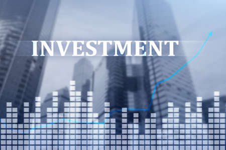 Investment, ROI, financial market concept mixed media background. Stock Photo