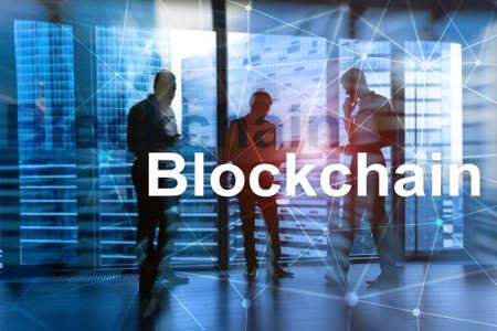 Businessman in blockchain cryptocurrency concept. Mixed media Banco de Imagens