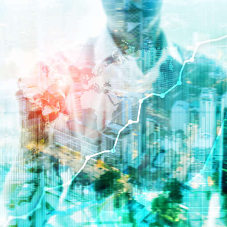 Business abstract background double exposure graph, chart and diagram. World wide map and. Global business and financial trading concept