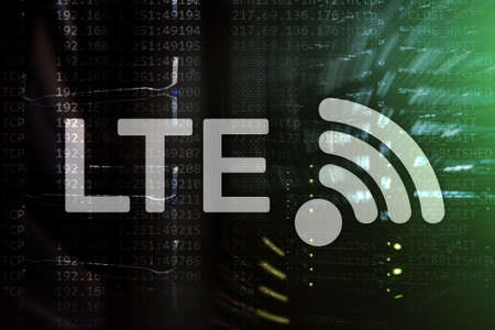 LTE, 5g wireless internet technology concept. Server room . Banco de Imagens