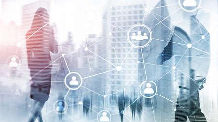 Double exposure people network structure HR - Human resources management and recruitment concept. Reklamní fotografie