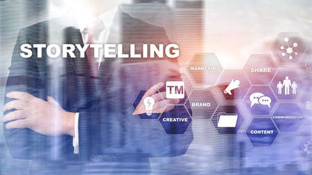 Storytelling. Story Telling Financial Business concept. Abstract blurred background. Banco de Imagens