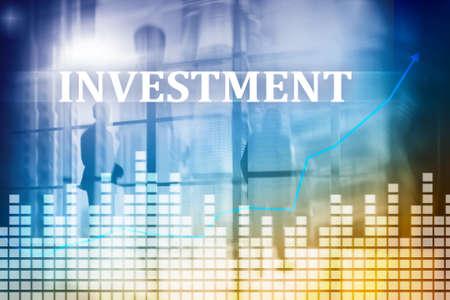 Investment, ROI, financial market concept. Double exposure .
