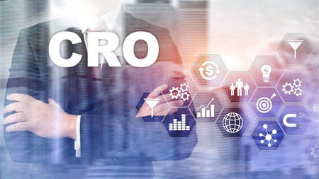 Conversion Rate Optimization. CRO Business Technology Finance concept on a virtual screen.