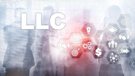 Limited Liability Company concept. Icons on virtual screen. Business Background.