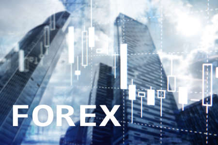 Forex trading, financial candle chart and graphs on blurred business center background. Фото со стока