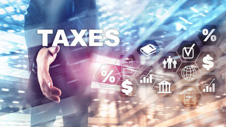Concept of taxes paid by individuals and corporations such as vat, income and wealth tax. Tax payment. State taxes. Calculation tax return. Stock Photo