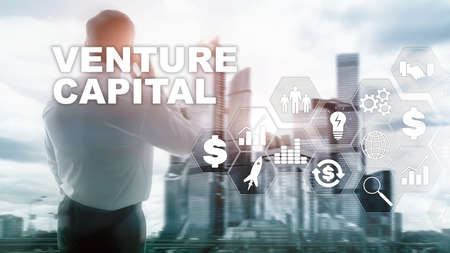 Venture Capital on Virtual Screen. Business, Technology, Internet and network concept. Abstract background. 版權商用圖片