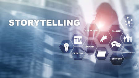 Geschichtenerzählen. Storytelling Financial Business Konzept. Abstrakter unscharfer Hintergrund.