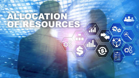 Allocation of resources concept. Strategic planning. Mixed media. Abstract business background. Financial technology and communication concept Stockfoto