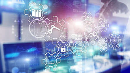 Technology innovation and process automation. Smart industry 4.0. 版權商用圖片