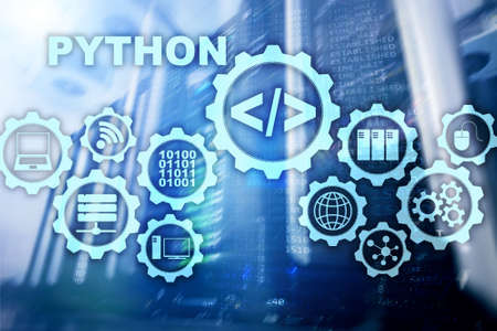 Python Programming Language on server room background. Programing workflow abstract algorithm concept on virtual screen