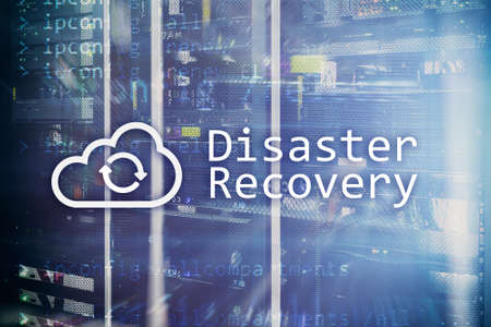 DIsaster recovery. Data loss prevention. Server room on background