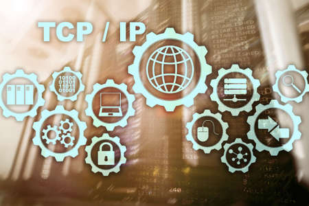 Tcp ip networking. Transmission Control Protocol. Internet Technology concept. Stock Photo