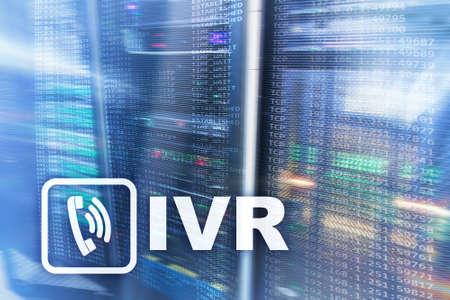 IVR Interactive voice response communication concept sever room.