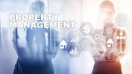 Property management. Business, Technology, Internet and network concept. Abstract Blurred Background.
