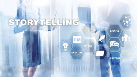 Storytelling. Story Telling Financial Business concept. Abstract blurred background. Stok Fotoğraf