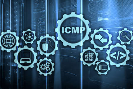 ICMP. Internet Control Message Protocol. Network concept. Server room on background
