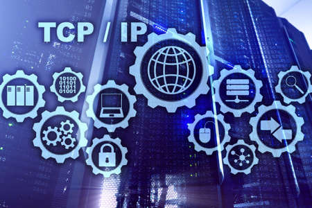 Tcp ip networking. Transmission Control Protocol. Internet Technology concept