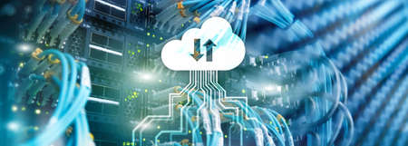 CLoud server and computing, data storage and processing. Internet and technology concept. Banque d'images - 117678299