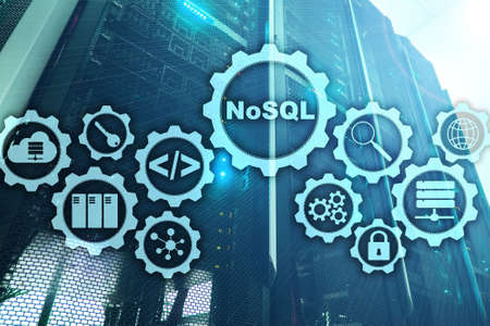 NoSQL. Structured Query Language. Database Technology Concept. Server room background. Archivio Fotografico