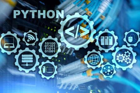Python Programming Language on server room background. Programing workflow abstract algorithm concept on virtual screen. Stock Photo - 118034402