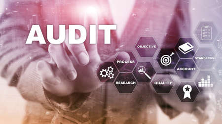 Audit business and finance concept. nalysis Annual Financial Statements, Analyze return on investment. Mixed media abstract background Archivio Fotografico