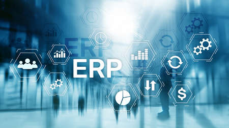 ERP system, Enterprise resource planning on blurred background. Business automation and innovation concept. Stock Photo