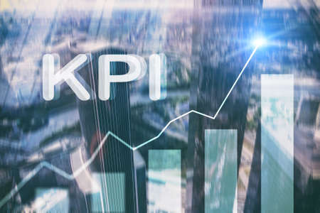KPI - Key Performance Indicator. Business and technology concept. Multiple exposure, mixed media. Financial concept on blurred background