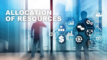 Allocation of resources concept. Strategic planning. Mixed media. Abstract business background. Financial technology and communication concept Banco de Imagens