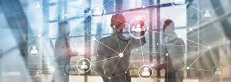Double exposure people network structure HR - Human resources management and recruitment concept. Banco de Imagens