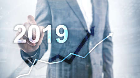 New year 2019 Financial growth graph on blurry business background Stok Fotoğraf