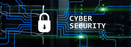 Cyber security, information privacy and data protection concept on server room background
