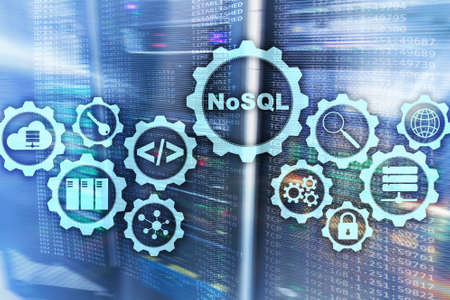 NoSQL. Structured Query Language. Database Technology Concept. Server room background
