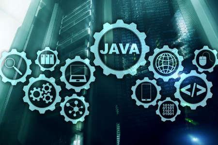 Java Programming concept. Virtual machine. On server room background.