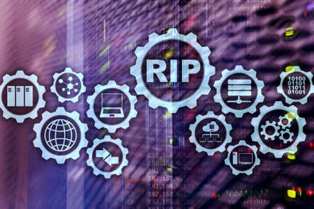 RIP Routing Information Protocol. Technology networks cocept.