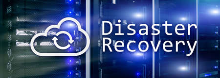 DIsaster recovery. Data loss prevention. Server room on background. Web site header wallpaper.