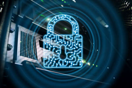 Cyber Security lock icon Information Privacy Data Protection internet and Technology concept 스톡 콘텐츠