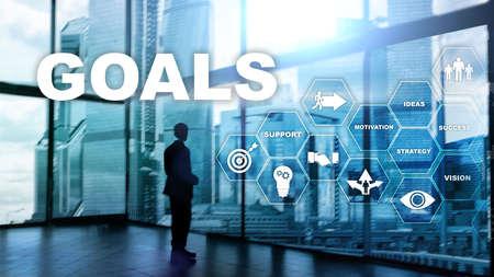Target Goals Expectations Achievement Graphic Concept. Business development to success and growing growth. Banco de Imagens