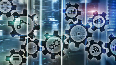 Automation technology and smart industry concept on blurred abstract background. Gears and icons