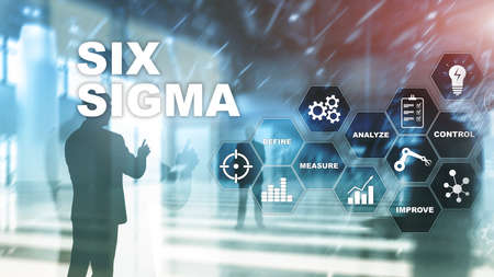 Six Sigma, manufacturing, quality control and industrial process improving concept. Business, internet and tehcnology