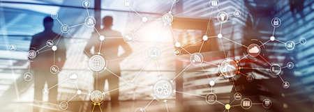 Estructura de la organización del flujo de trabajo del proceso de negocio industrial de la tecnología en la pantalla virtual. Diagrama de medios mixtos del concepto de industria inteligente de IOT Foto de archivo