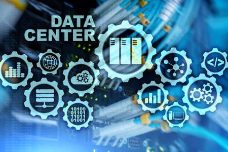Data Center of the Future on a virtual screen. Business information technology concept. Storing data and securing business continuity Imagens