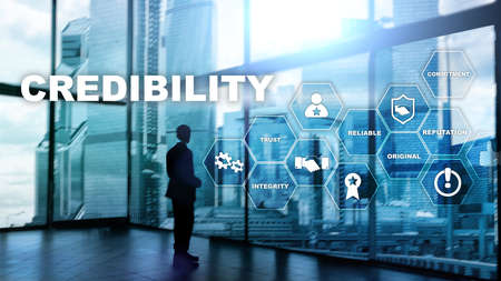 Corporate credibility improvement concept. Multiple exposure, mixed media background Reklamní fotografie