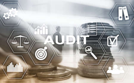 Audit Finance banking concept. Double Exposure Coins Financial and Business background.
